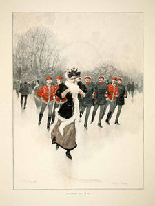 1893 Wood Engraving Fried Stahl Ice Skating Soldier Victorian Woman Muff MK1 - Period Paper