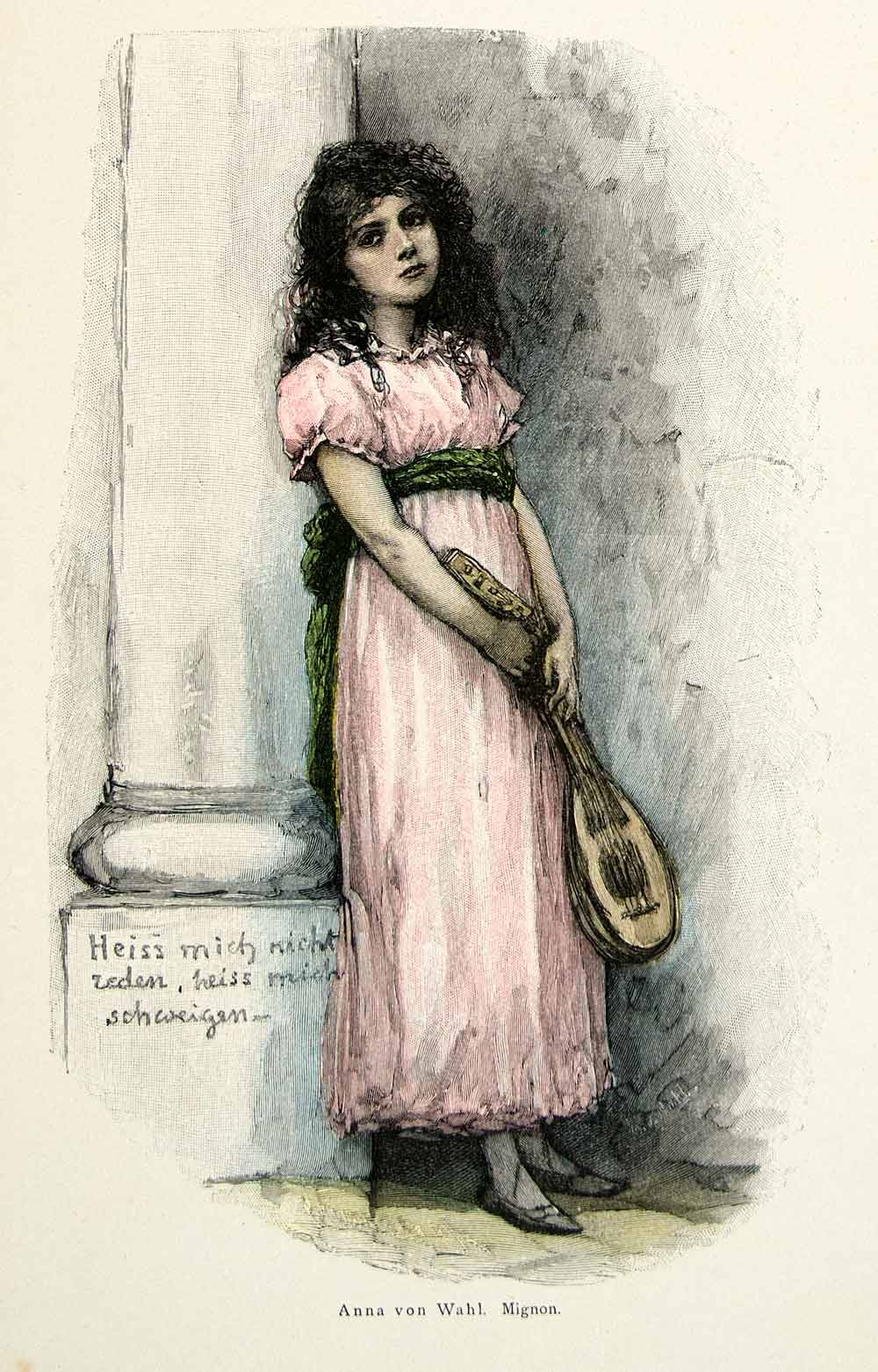 1893 Wood Engraving Anna Wahl Mignon Musical Instrument Victorian Child Girl MK1