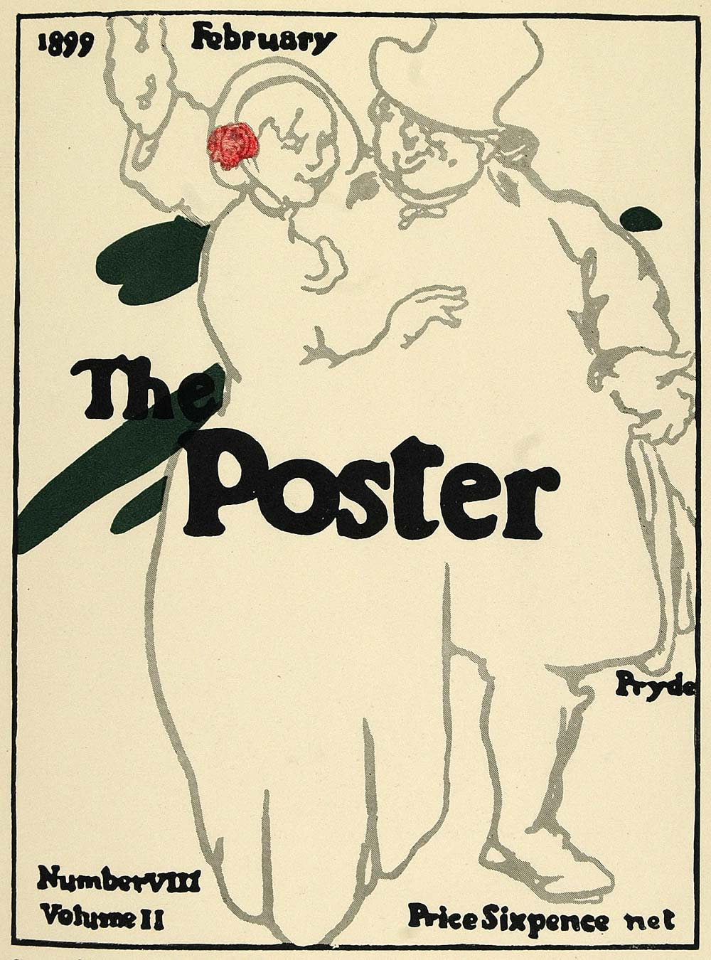 1924 Lithograph James Pryde Mini Poster Art The Poster Cover February 1899