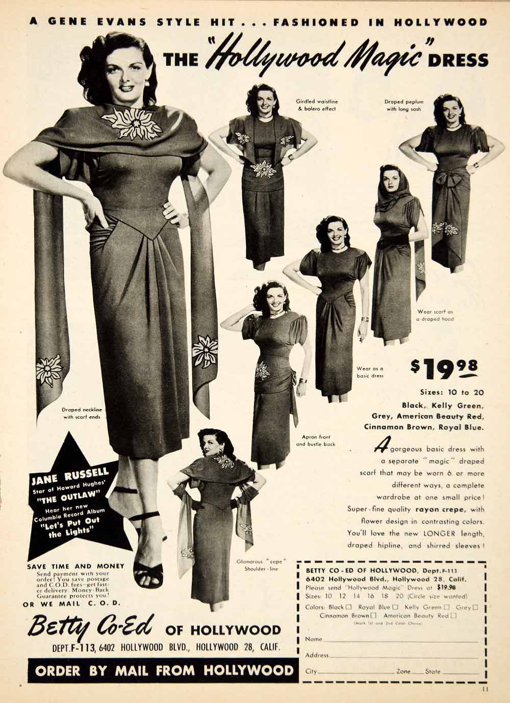 1947 Ad Hollywood Magic Dress Betty Co-Ed Jane Russell Outlaw Shawl Rayon MOV1