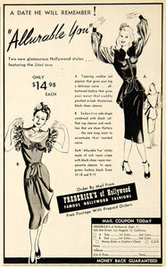 1947 Ad Frederick's Hollywood Dress Peplum Allurable you Rayon 420 Ord MOV1