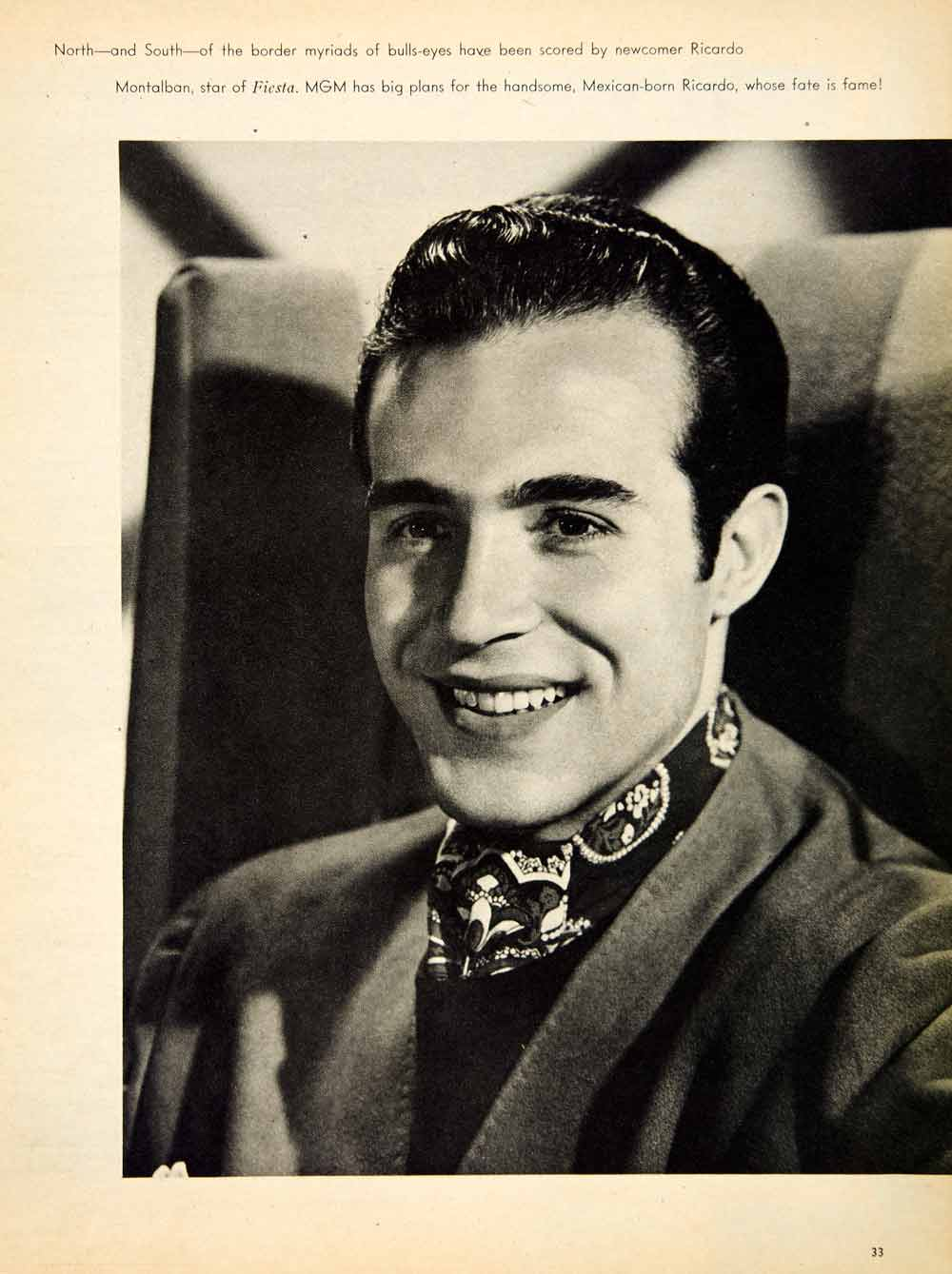 1947 Rotogravure Ricardo Montalban Fiesta MGM Hollywood Actor Famous MOV1