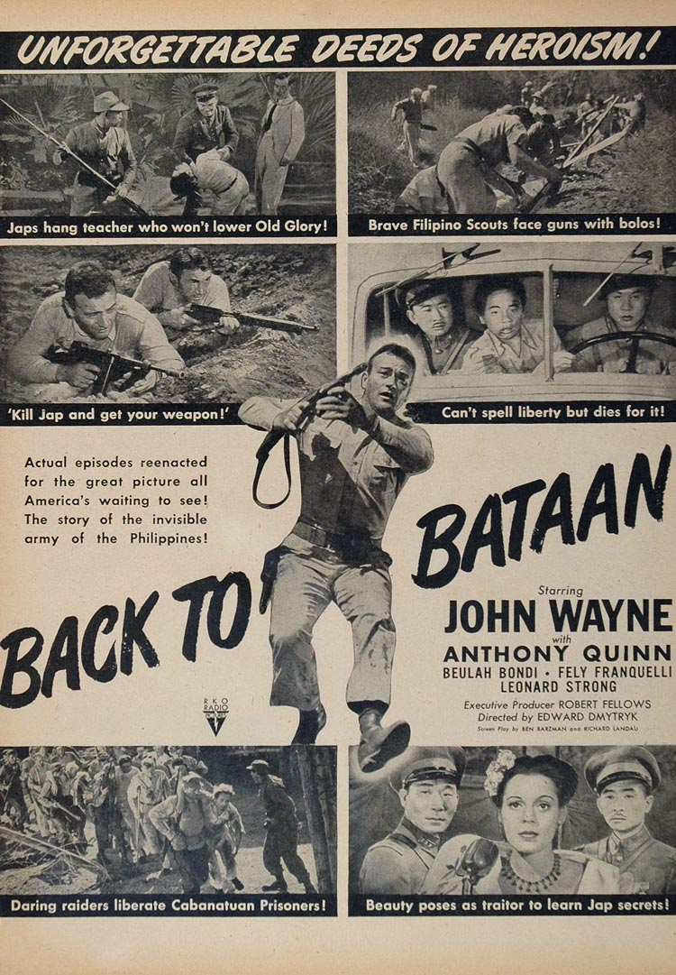 1949 Movie Ad Back to Bataan John Wayne Anthony Quinn - ORIGINAL MOVIE2