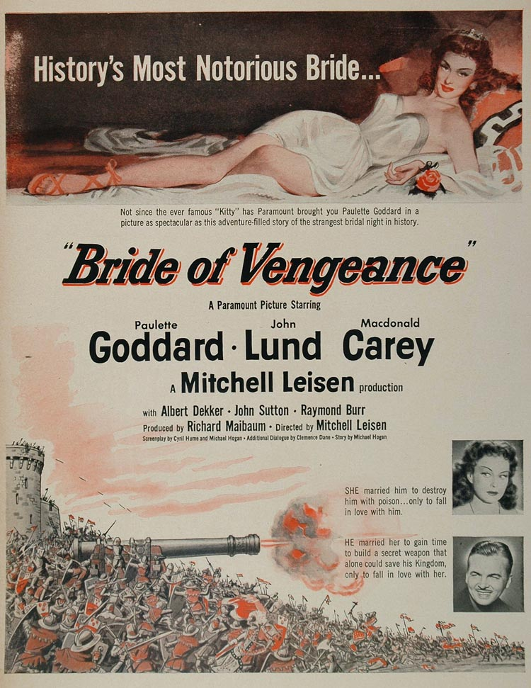 1949 Movie Ad Bride of Vengeance Paulette Goddard Film - ORIGINAL MOVIE2