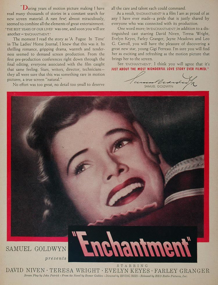 1948 Movie Ad Enchantment David Niven Teresa Wright - ORIGINAL MOVIE2 - Period Paper