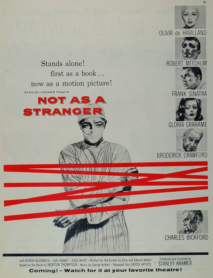 1955 Movie Ad Not As a Stranger Olivia de Havilland - ORIGINAL MOVIE2