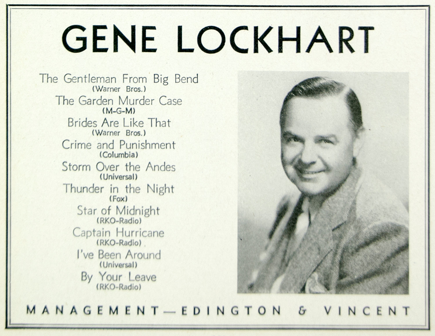 1936 Ad Eugene Gene Lockhart Actor Movie Film Canadian Edington & Vincent MOVIE3