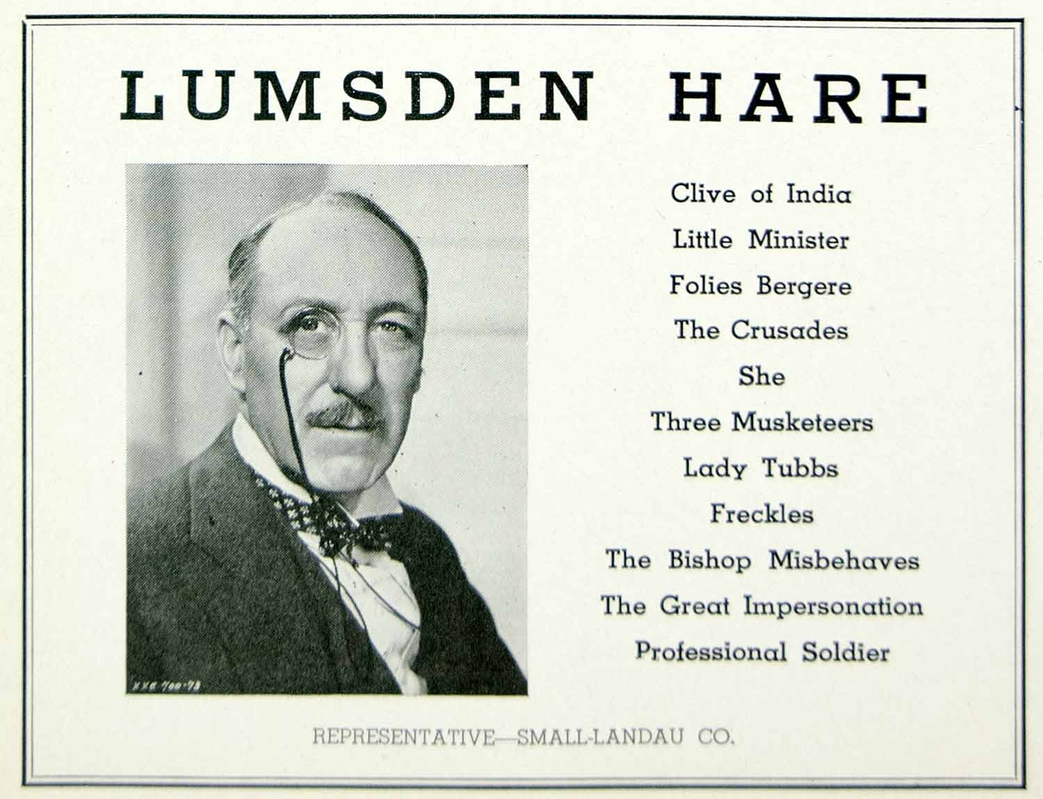 1936 Ad Francis Lumsden Hare Actor Irish Stage Film Booking Hollywood MOVIE3