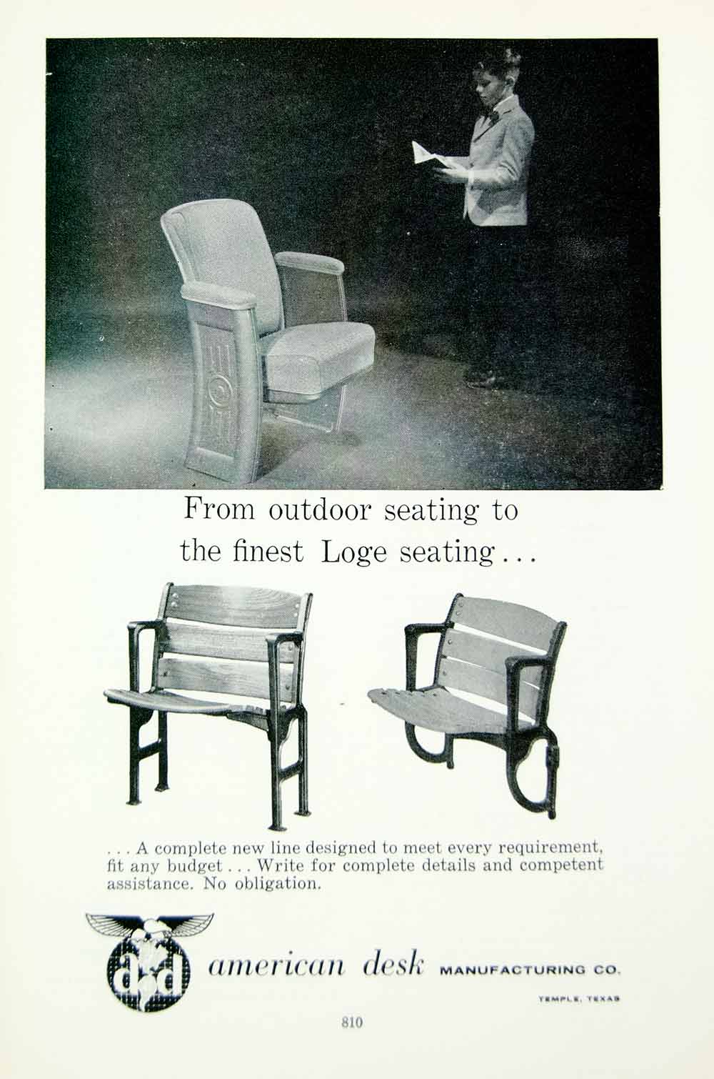 Superb 1958 Ad American Desk Manufacturing Theatre Seating Seat Bench Temple Tx Movie4 Gmtry Best Dining Table And Chair Ideas Images Gmtryco