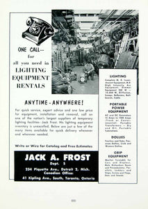 1958 Ad Jack A. Frost Movie Lighting Equipment Rentals Warehouse Detroit MOVIE4