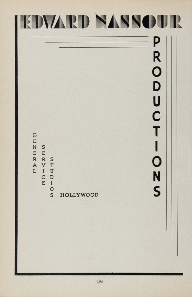 1936 Ad Edward Nassour Productions Studios Hollywood - ORIGINAL MOVIE