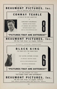 1936 Ad Beaumont Pictures Conway Tearle Black King - ORIGINAL ADVERTISING MOVIE