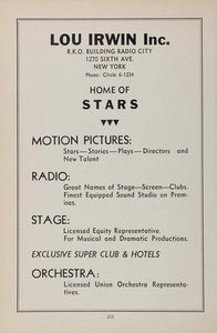1936 Lou Irwin Talent Agency Movies Film Radio Stage - ORIGINAL MOVIE