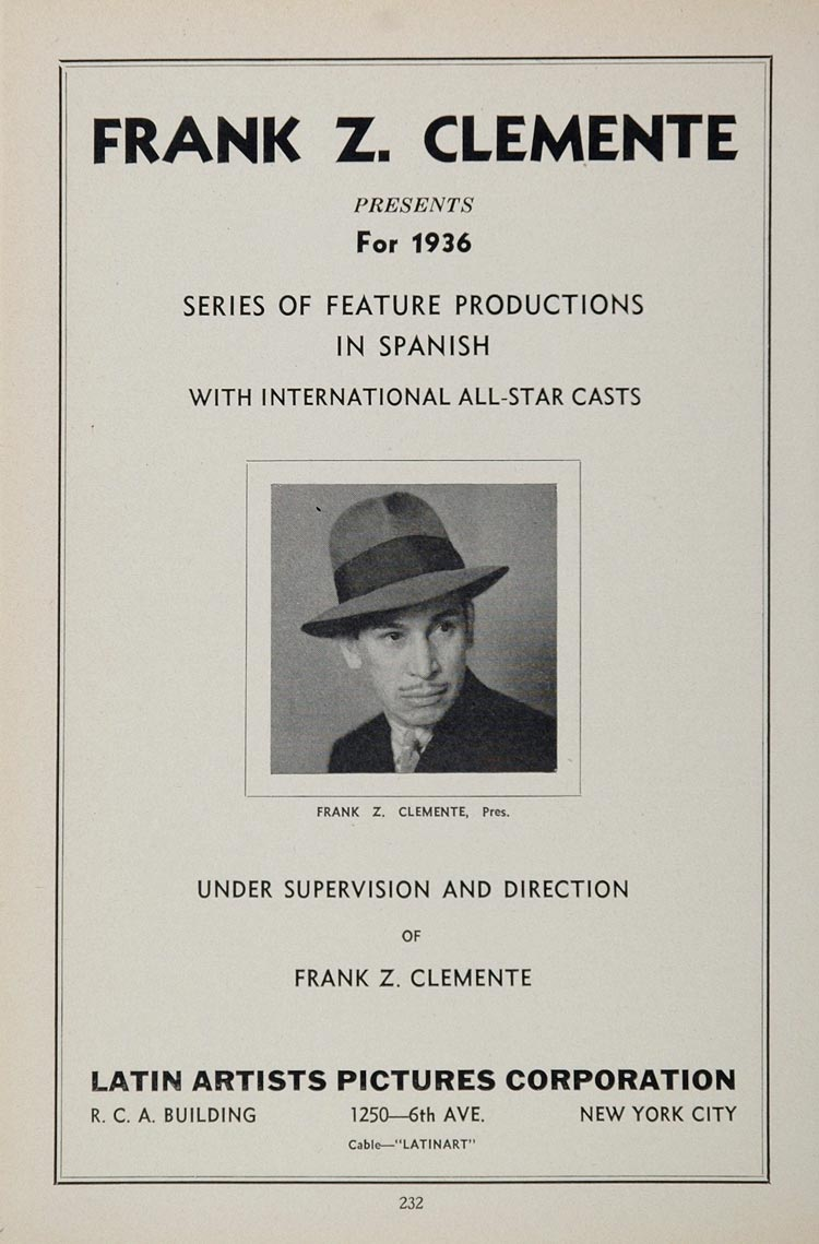 1936 Ad Frank Z. Clemente Latin Artists Spanish Movies - ORIGINAL MOVIE