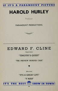 1936 Harold Hurley Edward F. Cline Paramount Pictures - ORIGINAL MOVIE