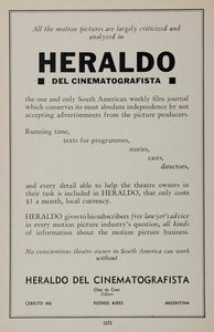 1936 Ad Heraldo del Cinematografista Journal Argentina - ORIGINAL MOVIE