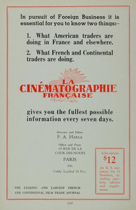 1936 Ad Cinematographie Francaise French Film Journal - ORIGINAL MOVIE