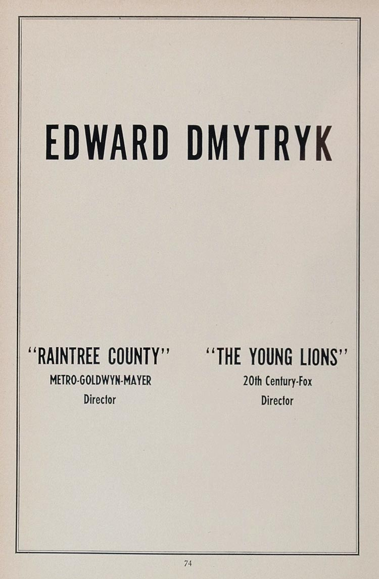 1958 Ad Edward Dmytryk Movie Director Raintree County - ORIGINAL MOVIE