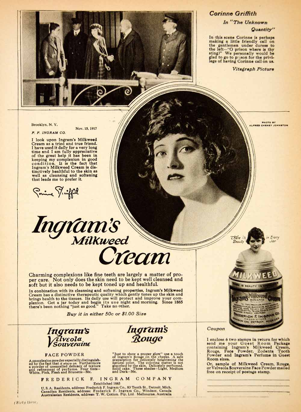 1919 Ad Frederick F. Ingram Milkweed Cream Beauty Healthy Corinne Griffith MPC1