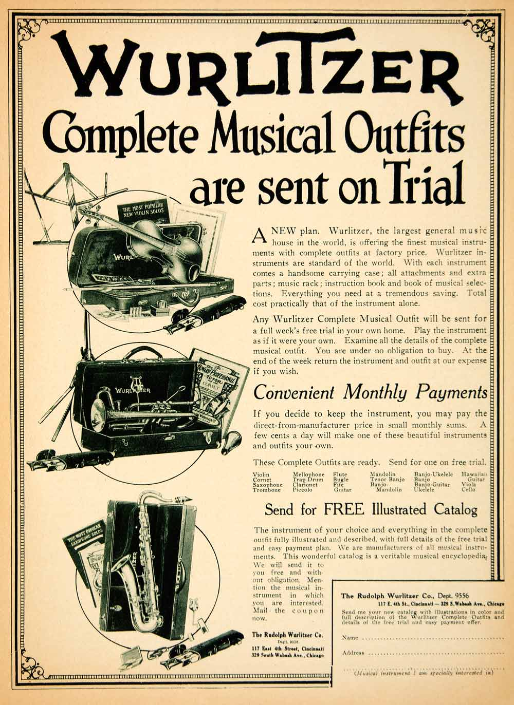 1919 Ad Rudolph Wurlitzer Complete Musical Outfits Instruments Violin MPC1
