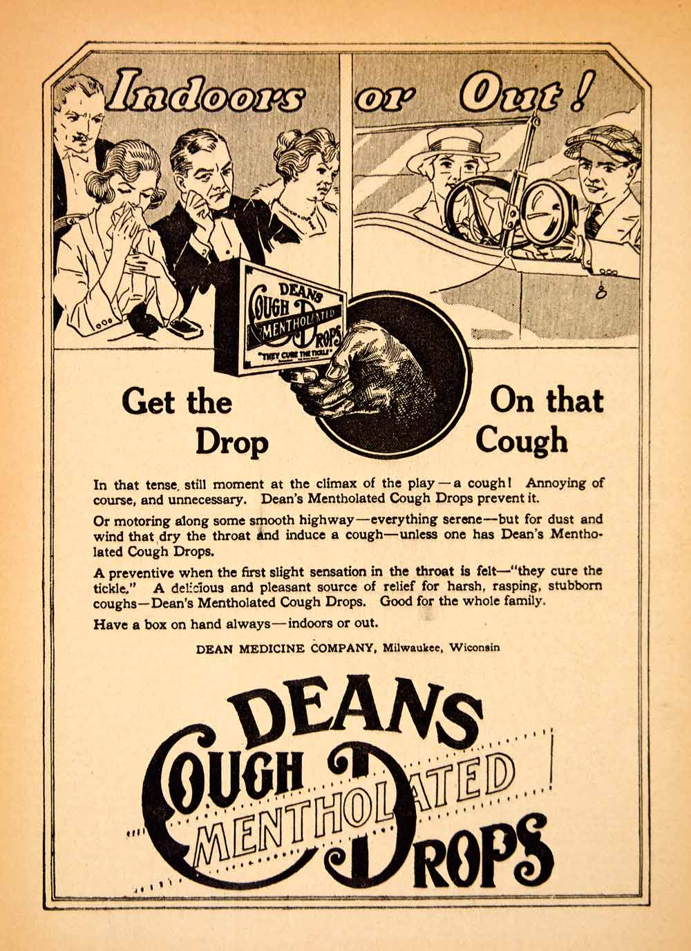 1919 Ad Deans Cough Mentholated Drop Milwaukee Medicine Health Wisconsin MPC1