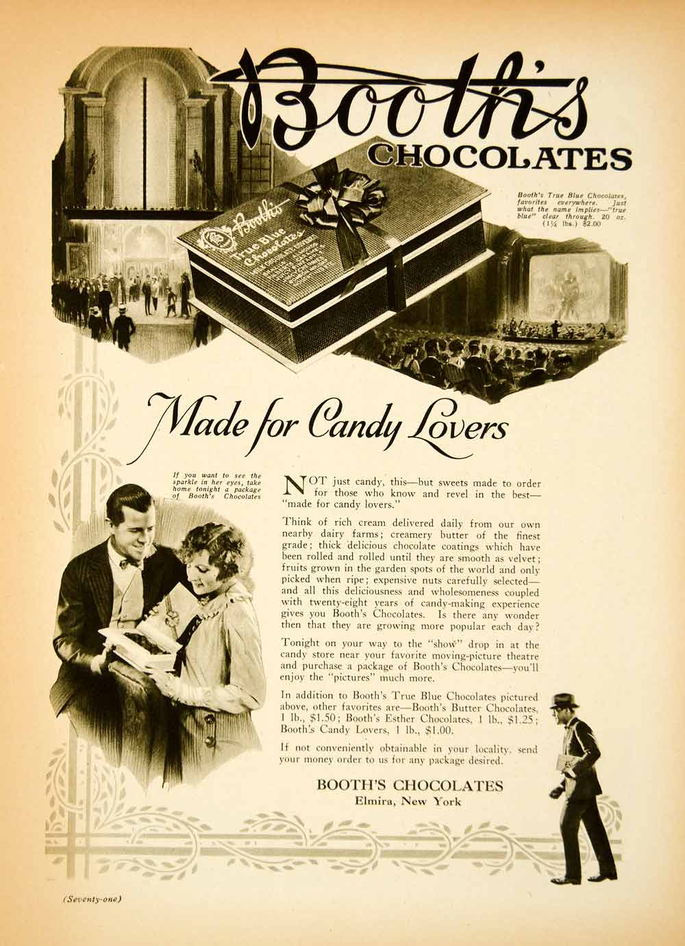 1923 Ad Booths Chocolates Candy Lovers Elmira New York Box Theater Border MPC1
