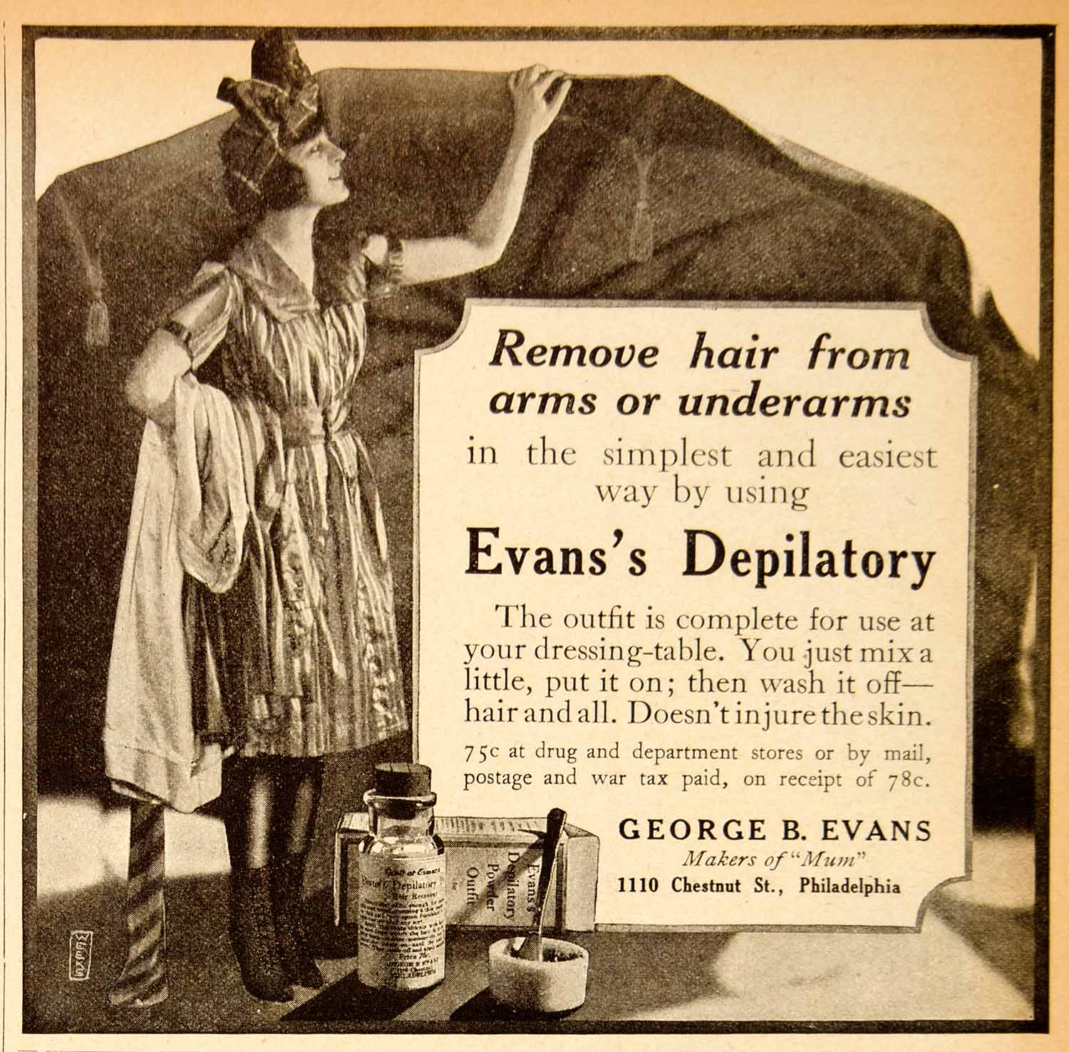1919 Ad George Evans Depilatory Hair Removal Women Beauty Portrait Fashion MPC1