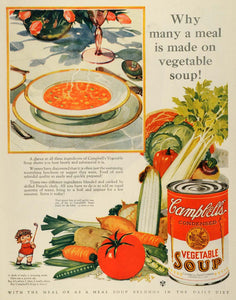 1928 Ad Campbell Soup Co Vegetables Hot Meal Canned Food Products Can MPR1