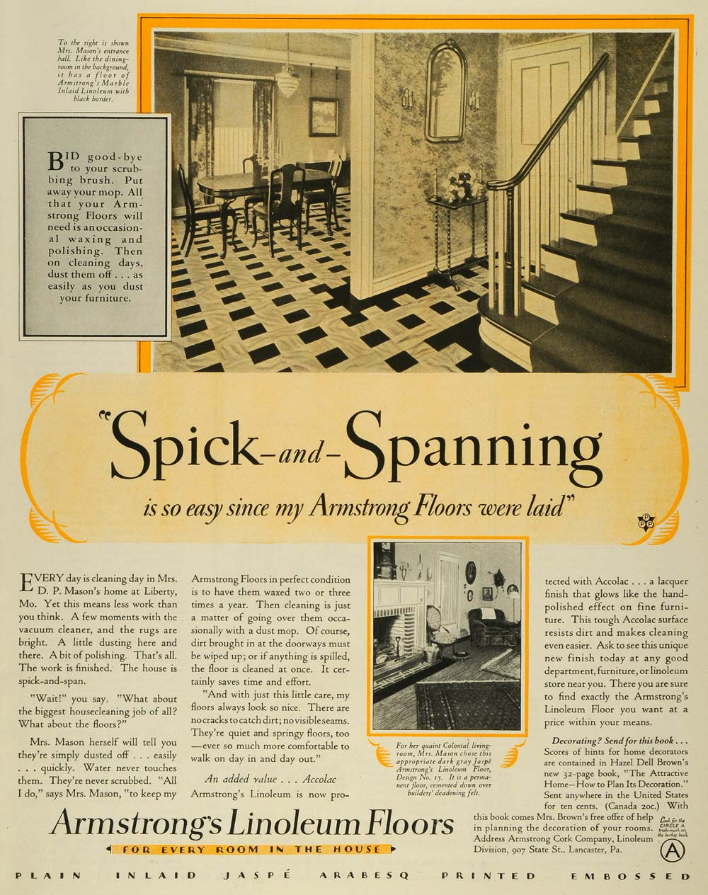 1928 Ad Armstrong Cork Co Floors Wood Stairs Mrs. D. P. Mason's Home MPR1