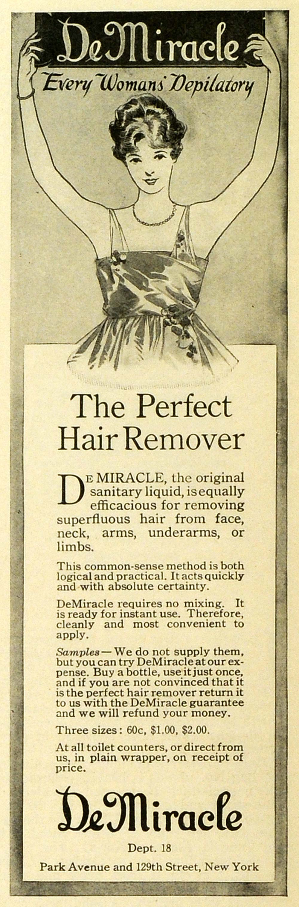 1919 Ad DeMiracle Liquid Hair Removal Depilatory NY Unwanted Body Hair MPR1