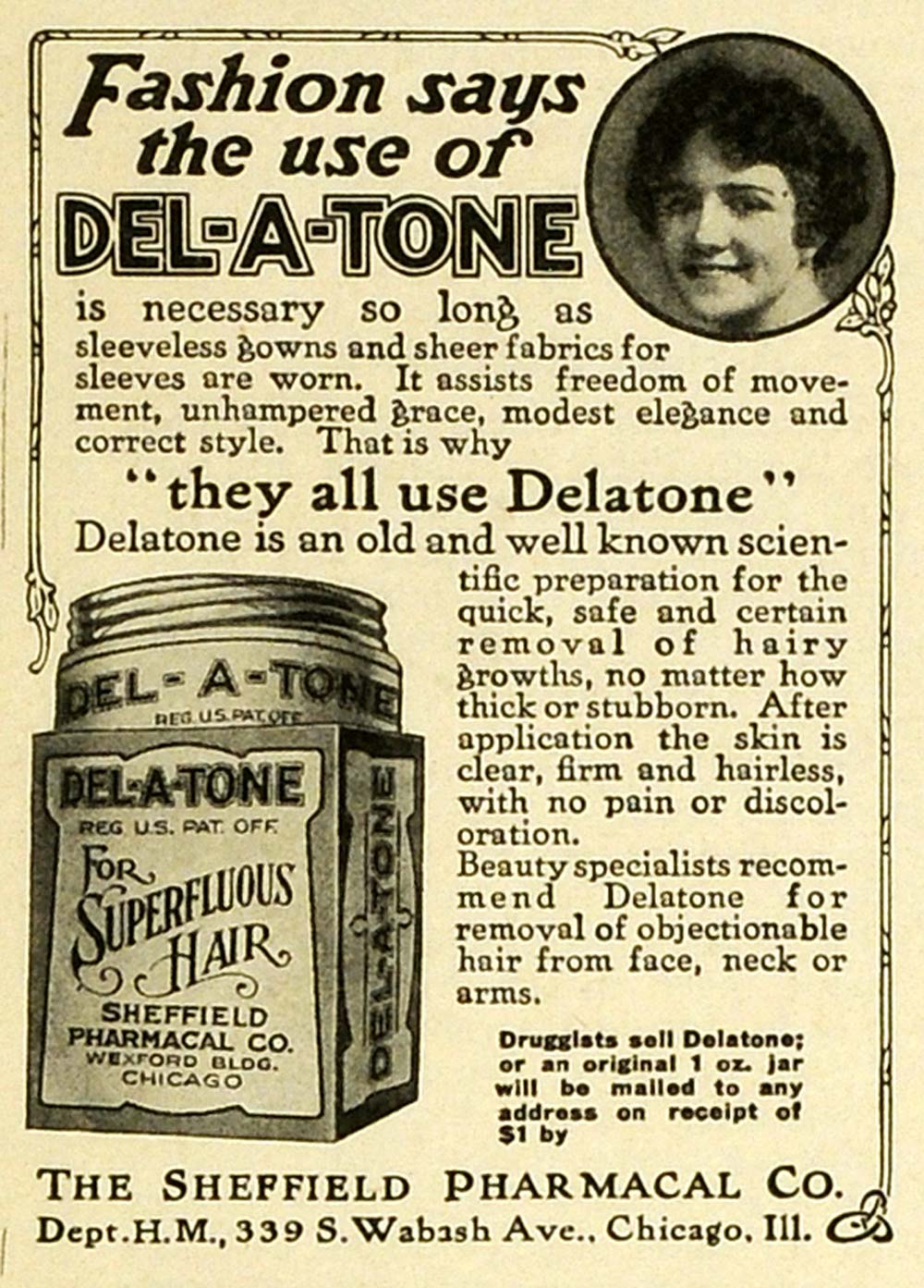 1919 Ad Sheffield Pharmacal Co Del-A-Tone Hair Removal Preparation MPR1