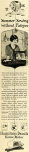 1928 Ad Hamilton Beach Manufacturing Co Vintage Summer Sewing Machine Home MPR1