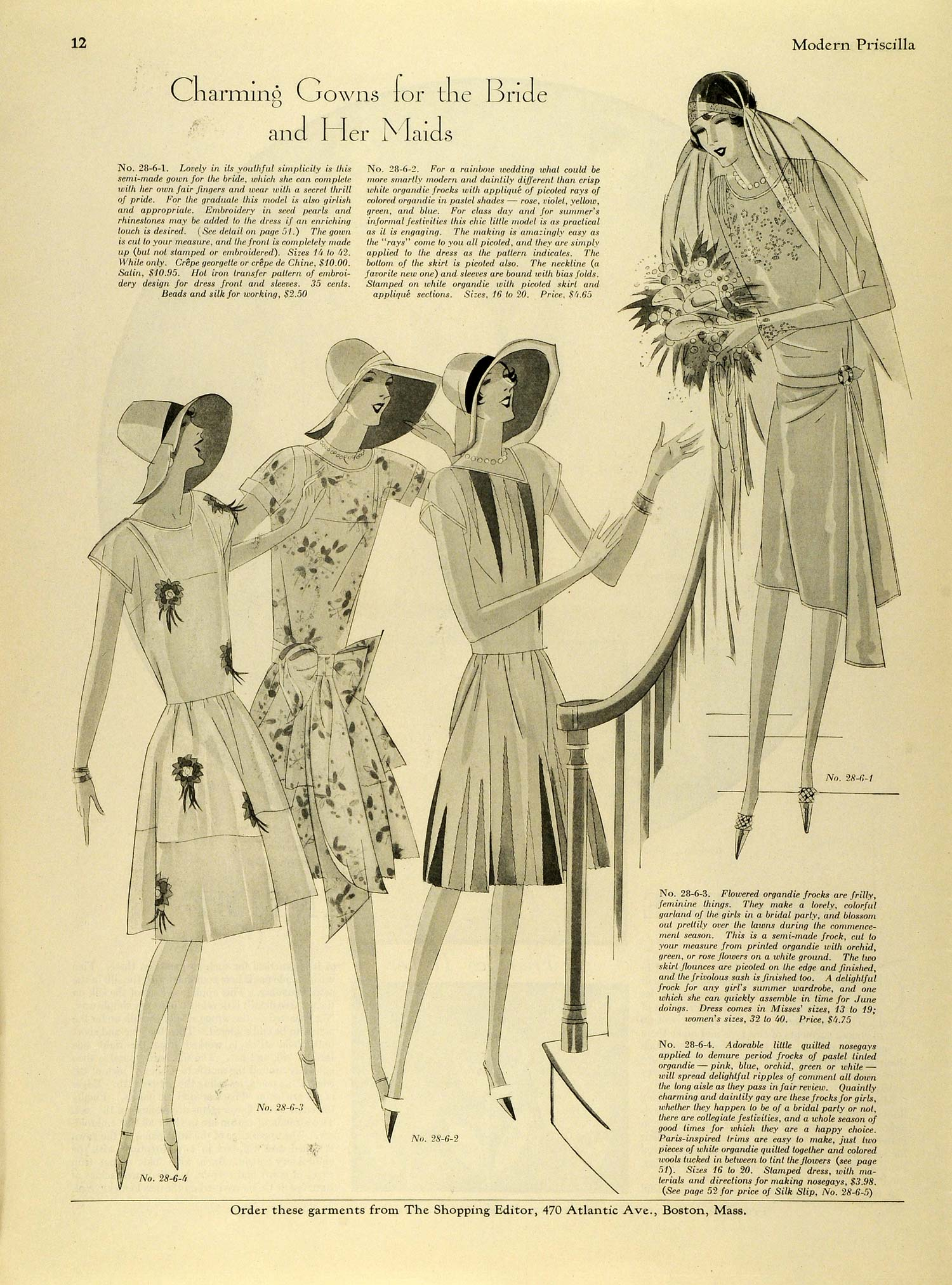 1928 Print Fashion Silhouette Patterns Bride Dress Maids Seed Pearls MPR1