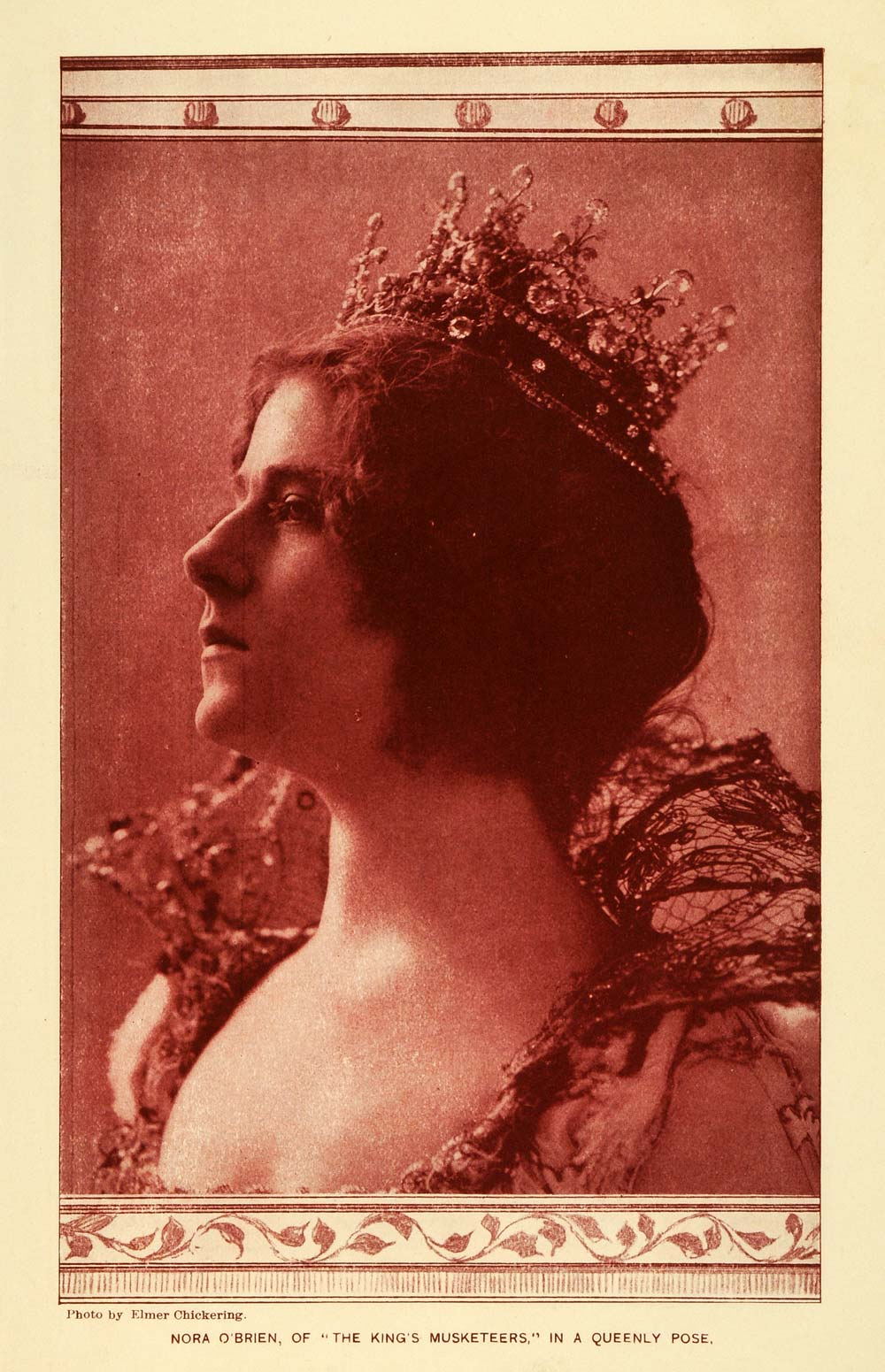 1900 Print Stage Actress Nora O Brien Portrait Queen Jewel Crown King MTR1