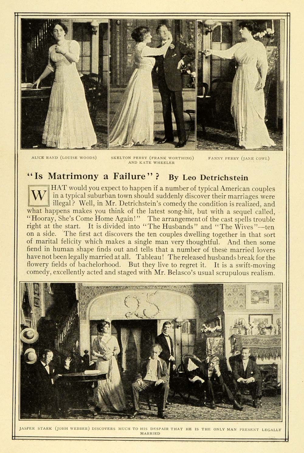 1909 Print Matrimony Failure Cast New York Play Scenes Theater Leo MTR1