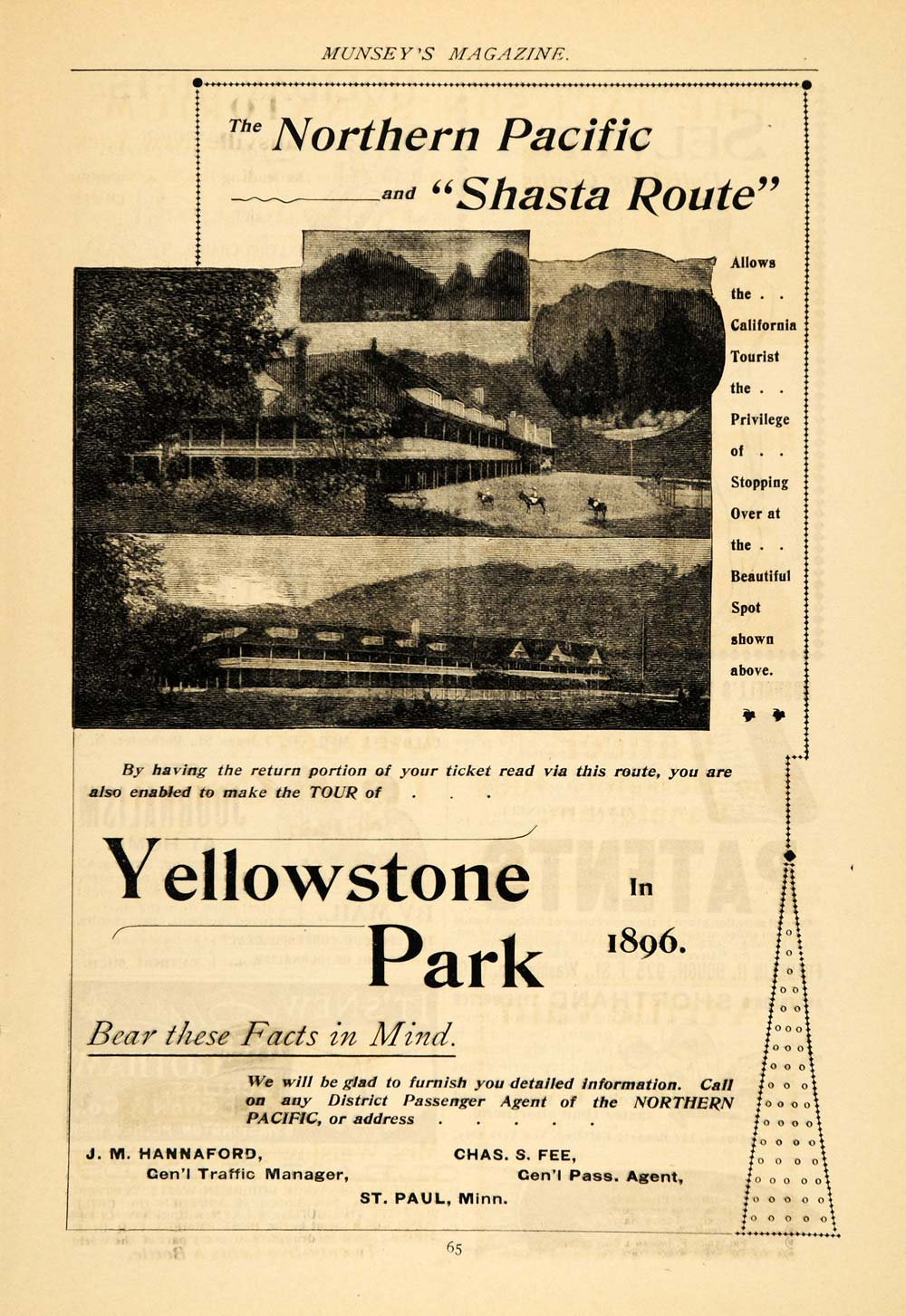 1895 Ad Northern Pacific Shasta Route Yellowstone Park - ORIGINAL MUN1