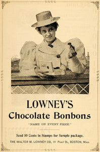 1895 Ad Woman Puffy Coat Hat Lowneys Chocolate Bonbons - ORIGINAL MUN1