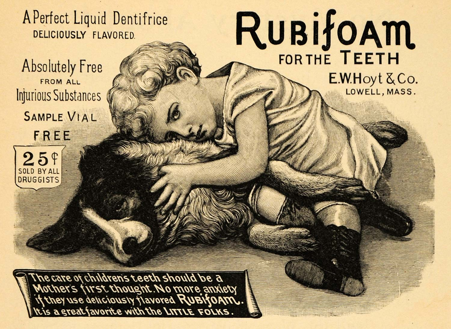 1895 Ad Child Dog Rubifoam Liquid Dentifrice E W Hoyt - ORIGINAL MUN1