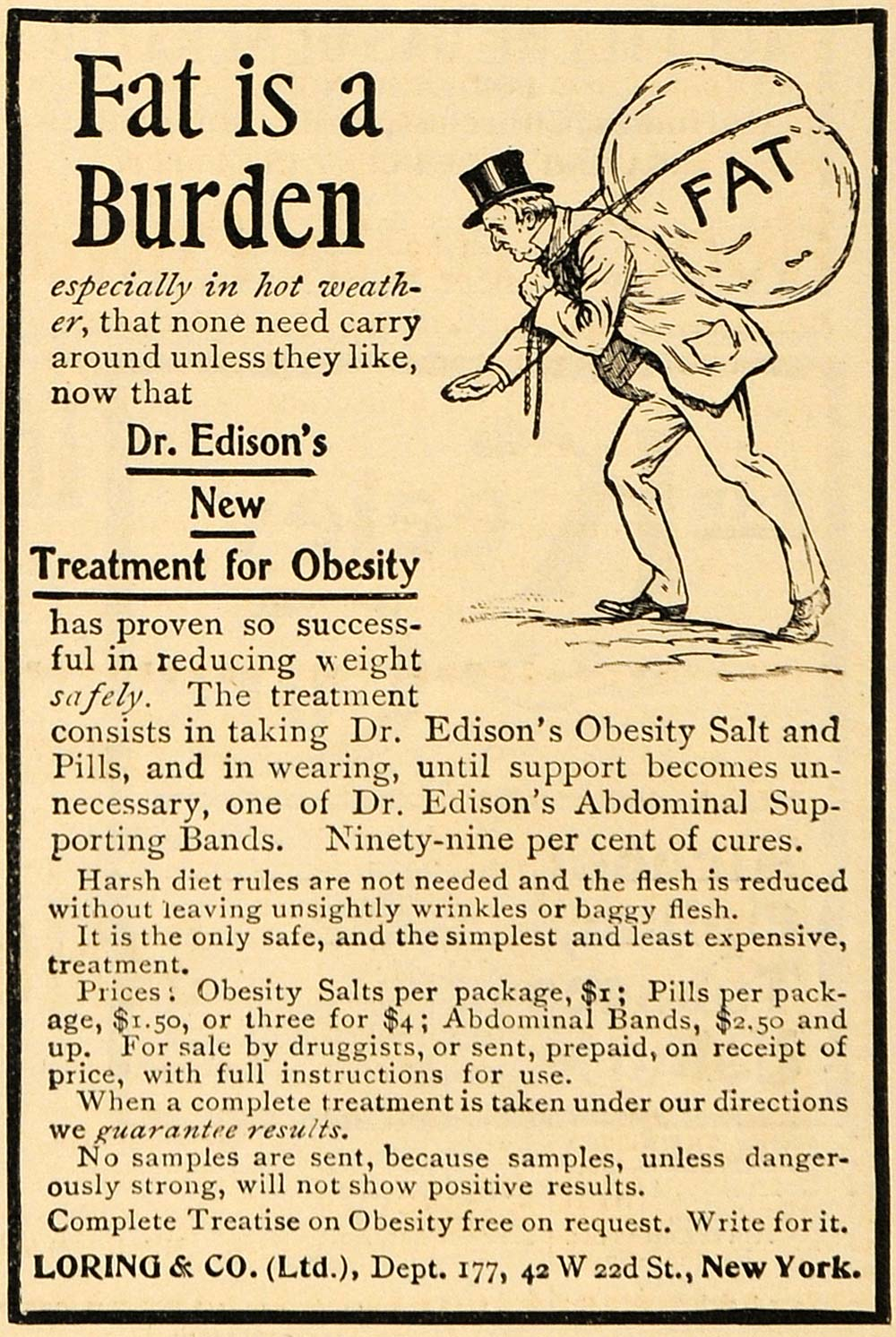 1899 Ad Dr Edison Obesity Treatment Loring & Company - ORIGINAL ADVERTISING MUN1