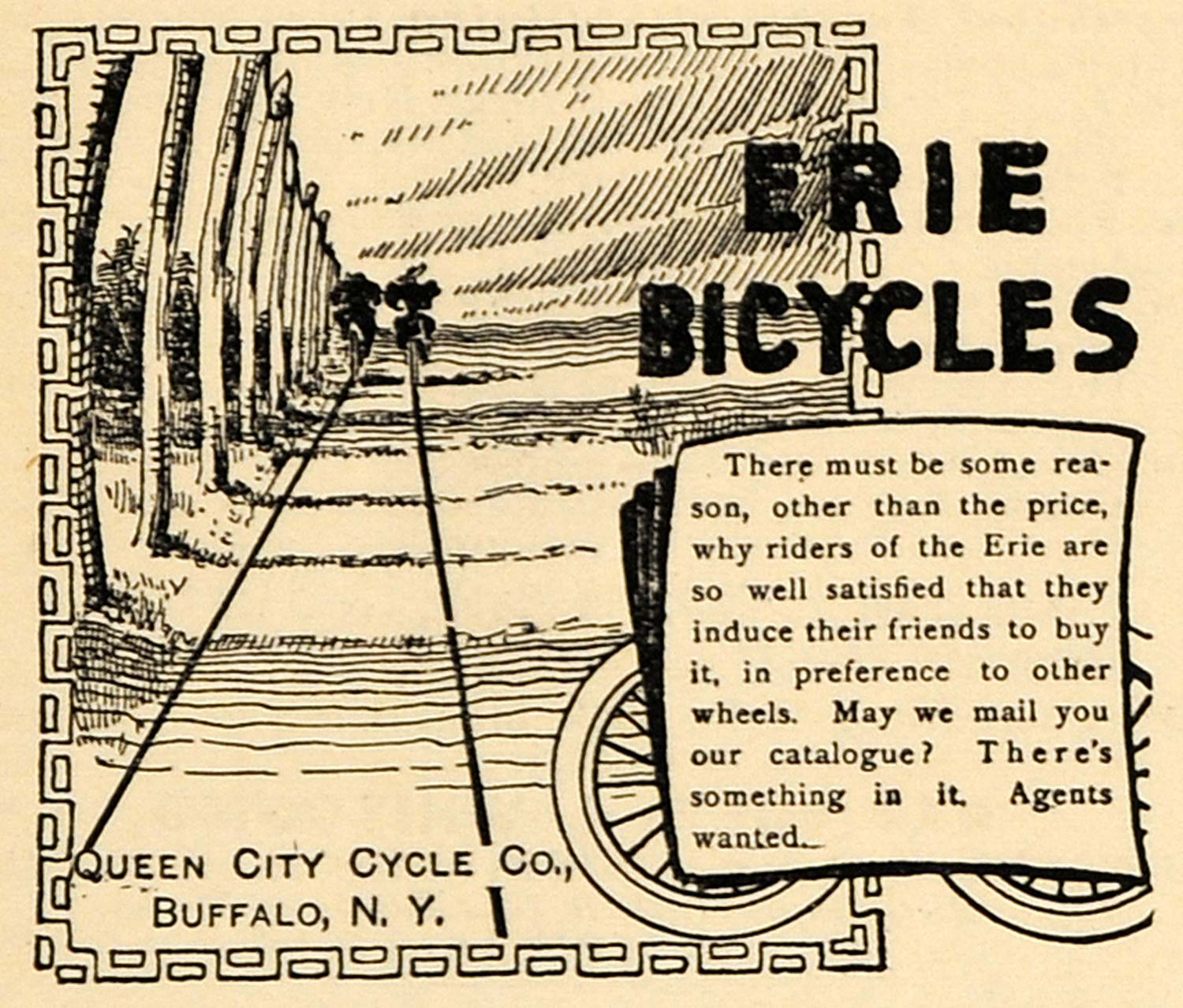 1895 Ad Erie Bicycles Queen City Cycle Company Buffalo - ORIGINAL MUN1