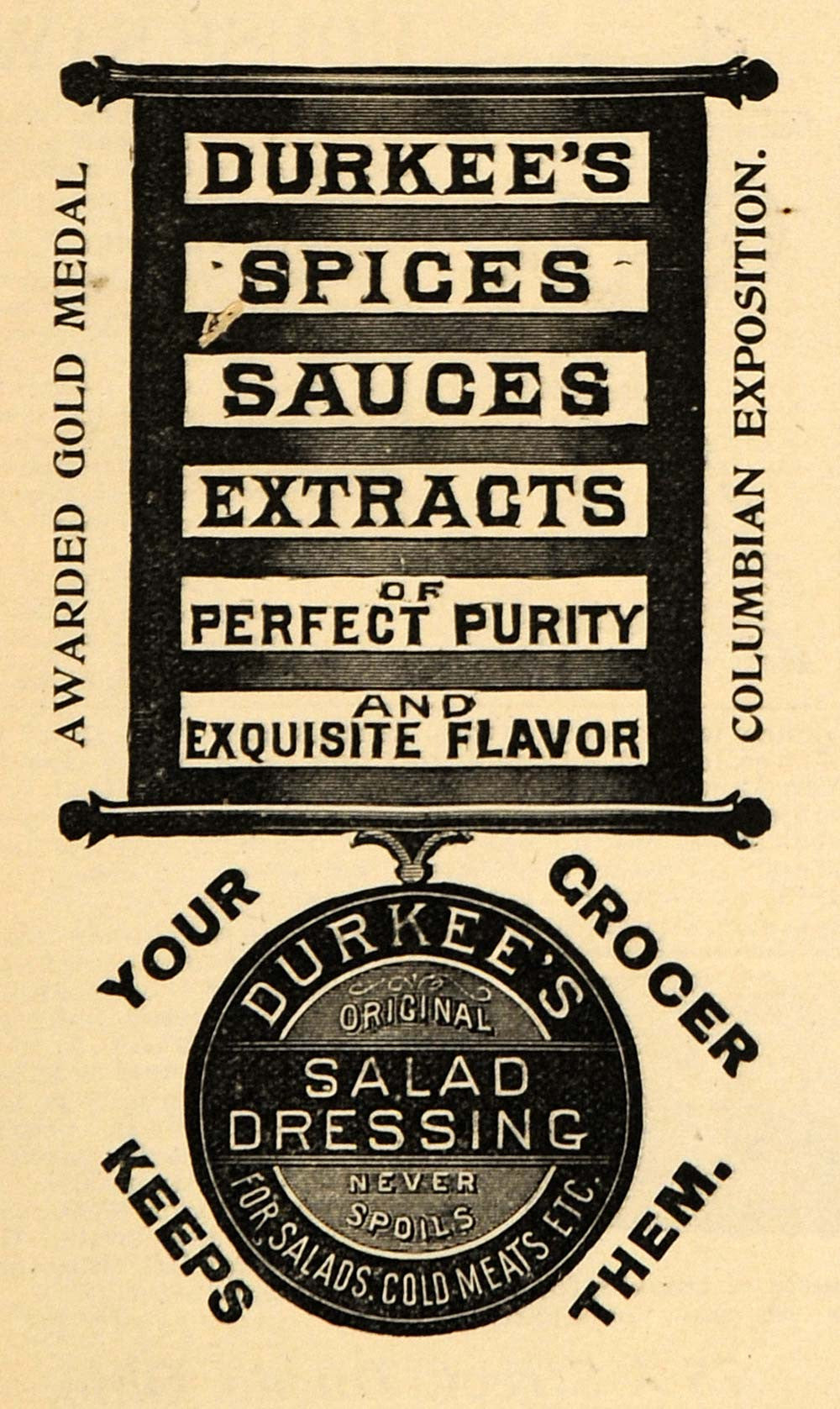 1895 Ad Durkees Spice Sauce Extract Salad Dressing Gold - ORIGINAL MUN1