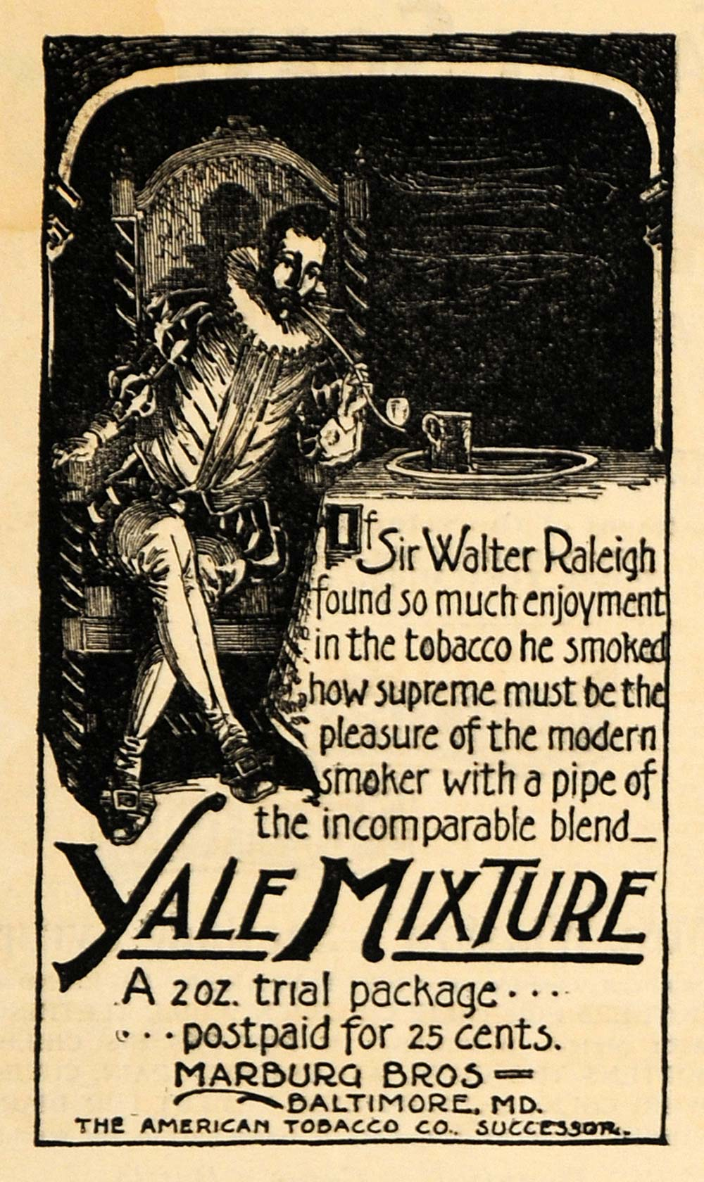 1895 Ad Sir Walter Raleigh Yale Mix American Tobacco Co - ORIGINAL MUN1