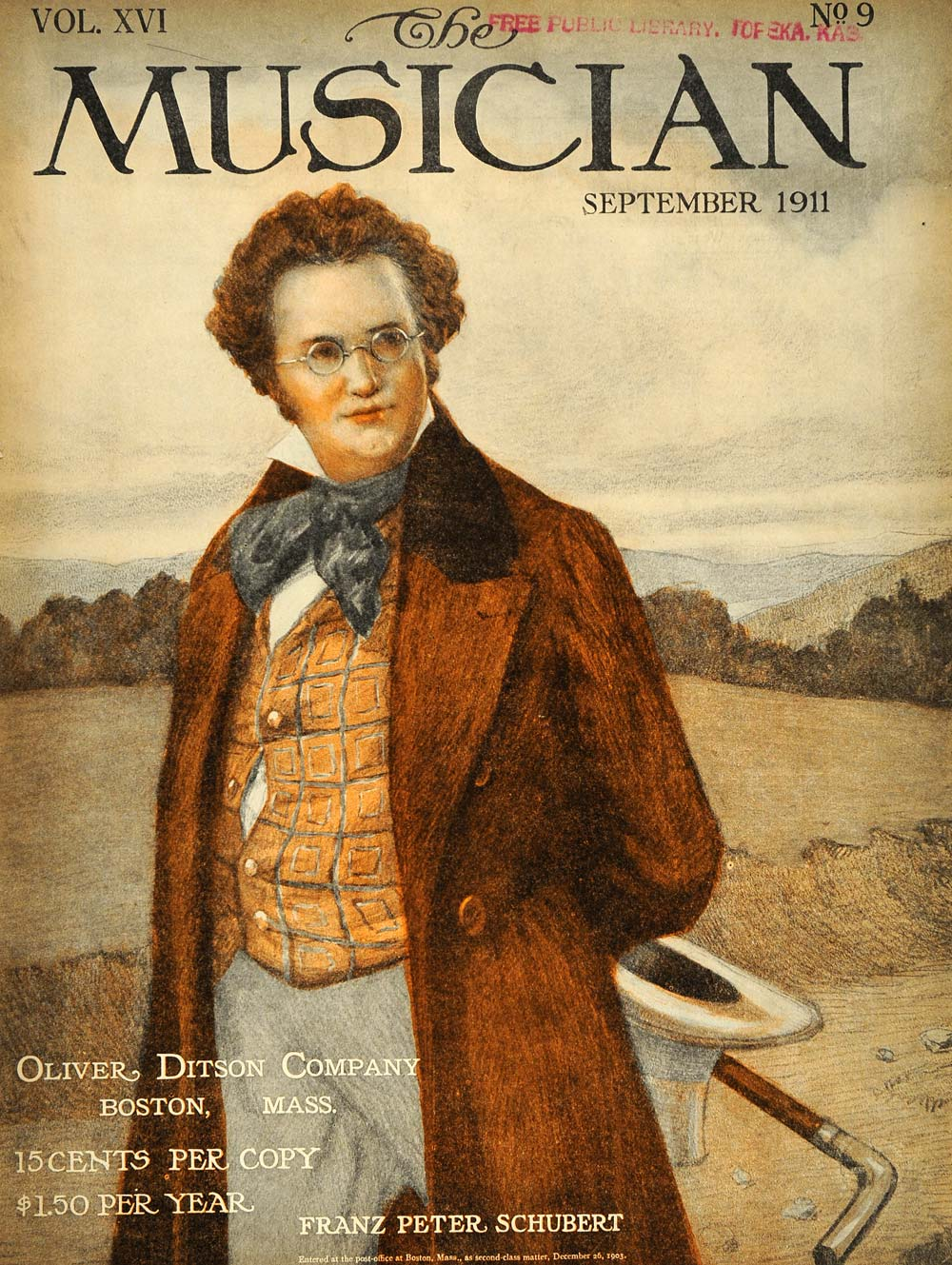 1911 Cover Musician Franz Peter Schubert Hill Portrait - ORIGINAL MUS1