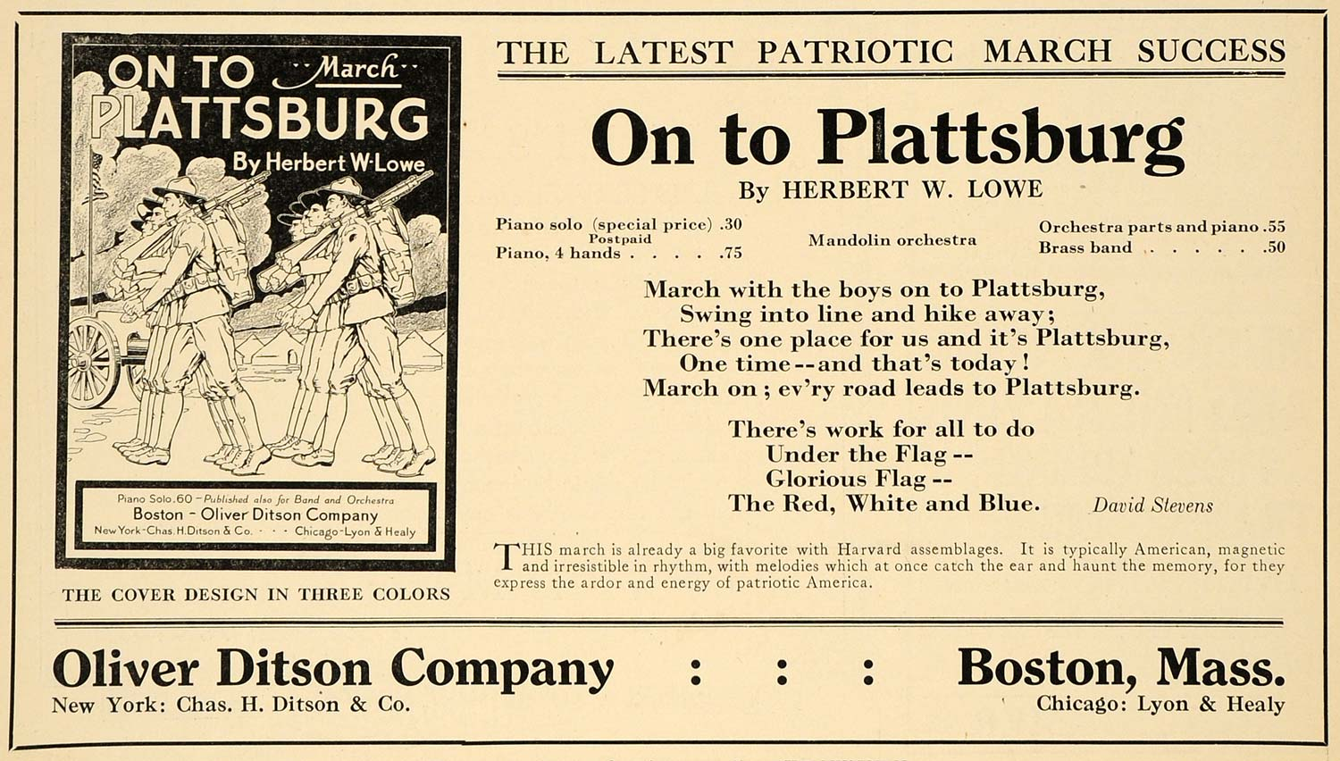1916 Ad On to Plattsburg Herbert W Lowe Oliver Ditson - ORIGINAL MUS1
