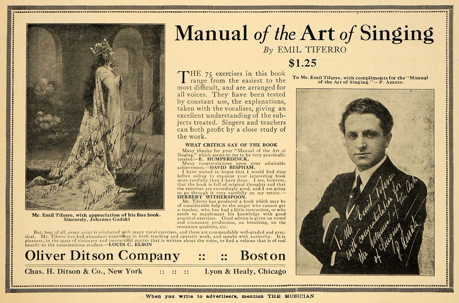 1915 Ad Emil Tiferro Manual Art Singing Oliver Ditson - ORIGINAL MUS1