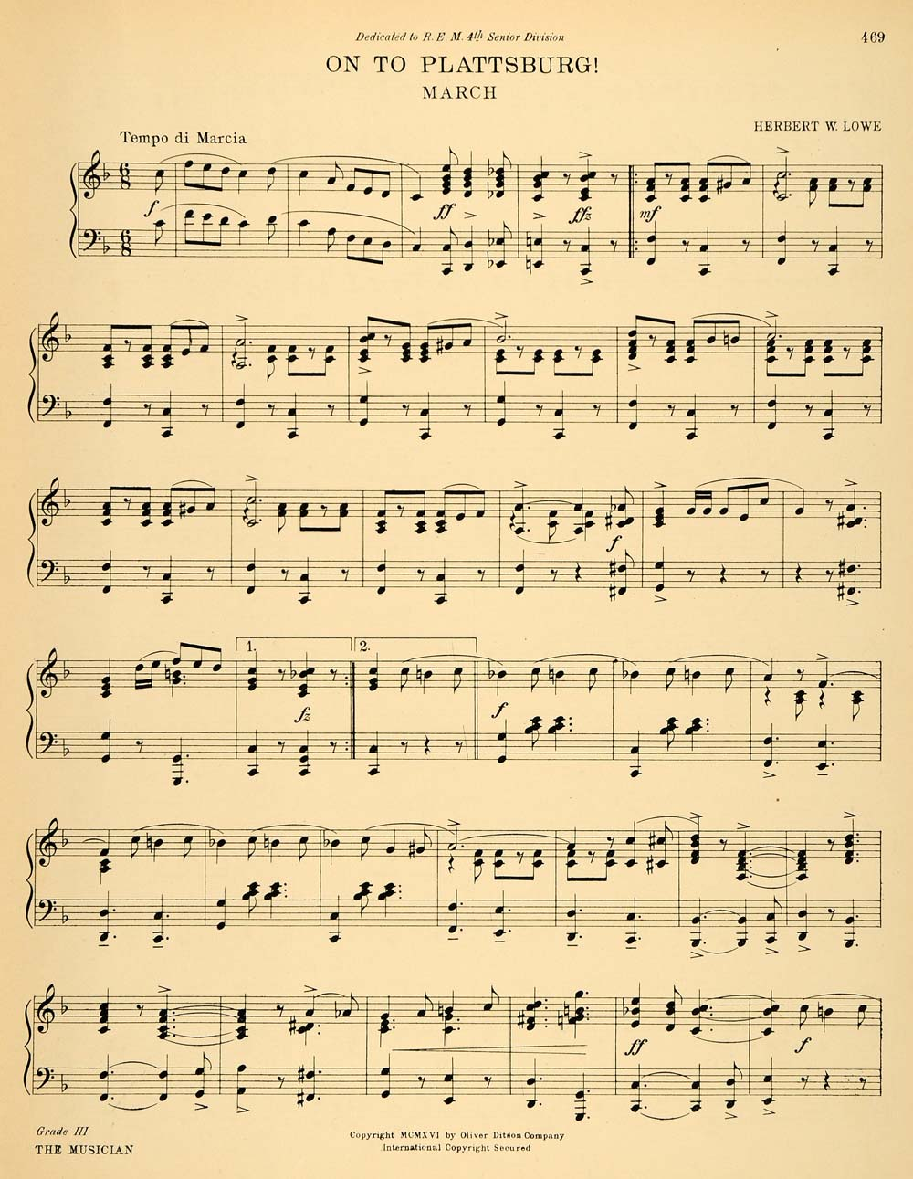 graphic relating to Printable Music Notation named 1916 Print Sheet Tunes Notation Lowes Plattsburg March Authentic Ancient MUS1