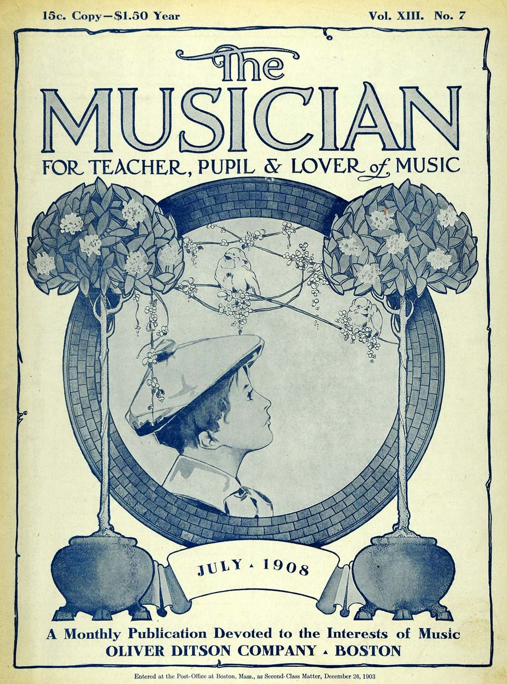 1908 Cover Musician Boy Listening Songbirds Tree Branch - ORIGINAL MUS1