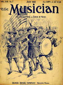 1912 Cover Musician Colonial Patriotic Marching Band - ORIGINAL MUS1