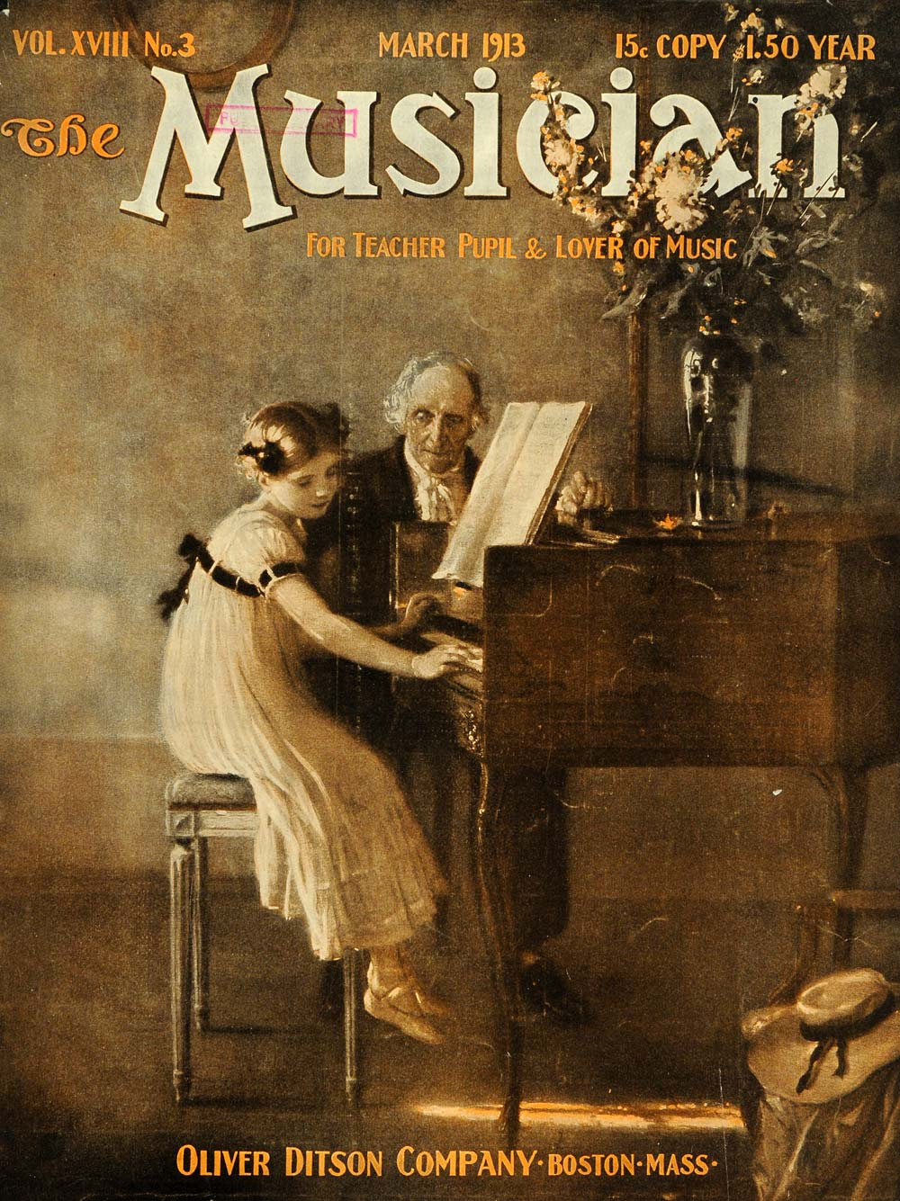 1913 Cover Musician Young Girl Piano Lesson Old Tutor - ORIGINAL MUS1