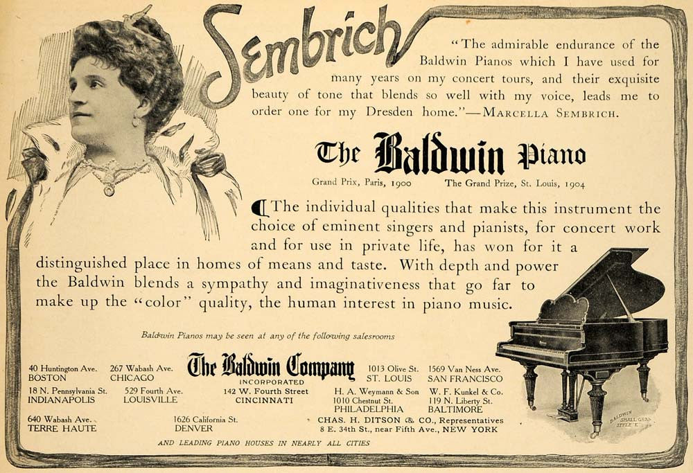 1908 Ad Baldwin Grand Pianos Marcella Sembrich Pianist - ORIGINAL MUS1